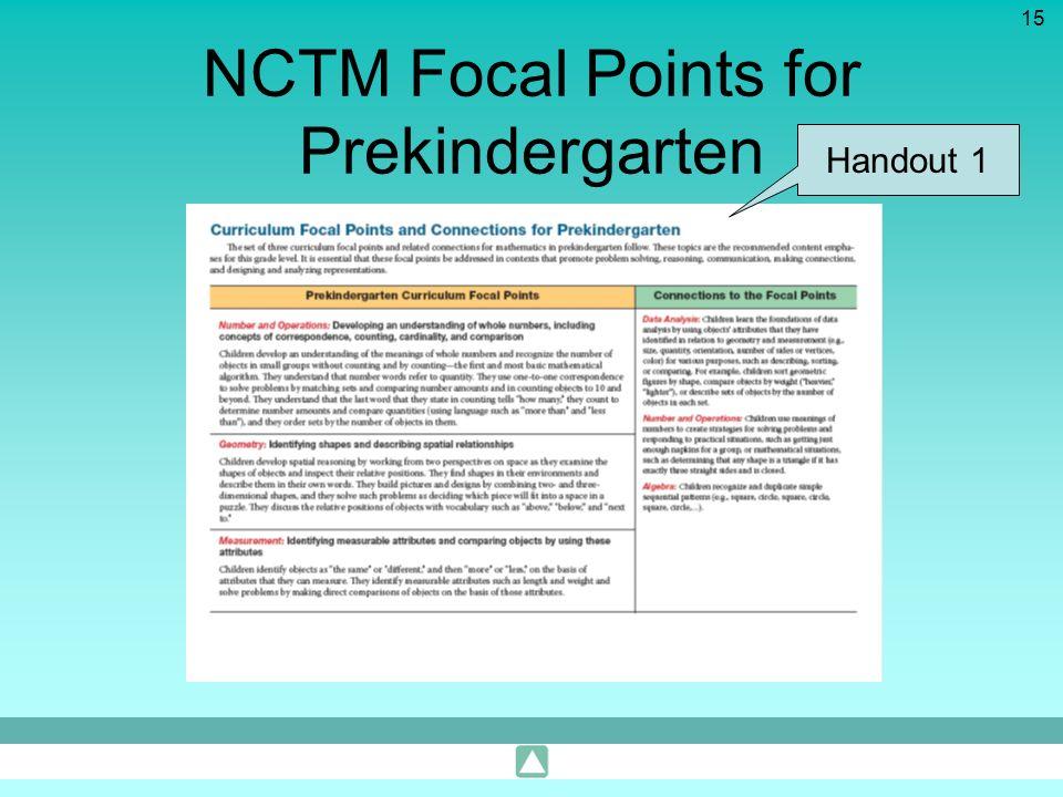 15 NCTM Focal Points for Prekindergarten Handout 1