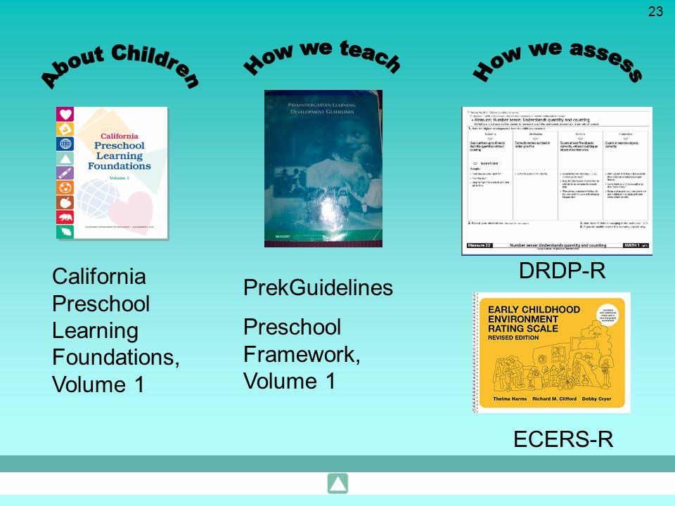 23 California Preschool Learning Foundations, Volume 1 PrekGuidelines DRDP-R ECERS-R Preschool Framework, Volume 1