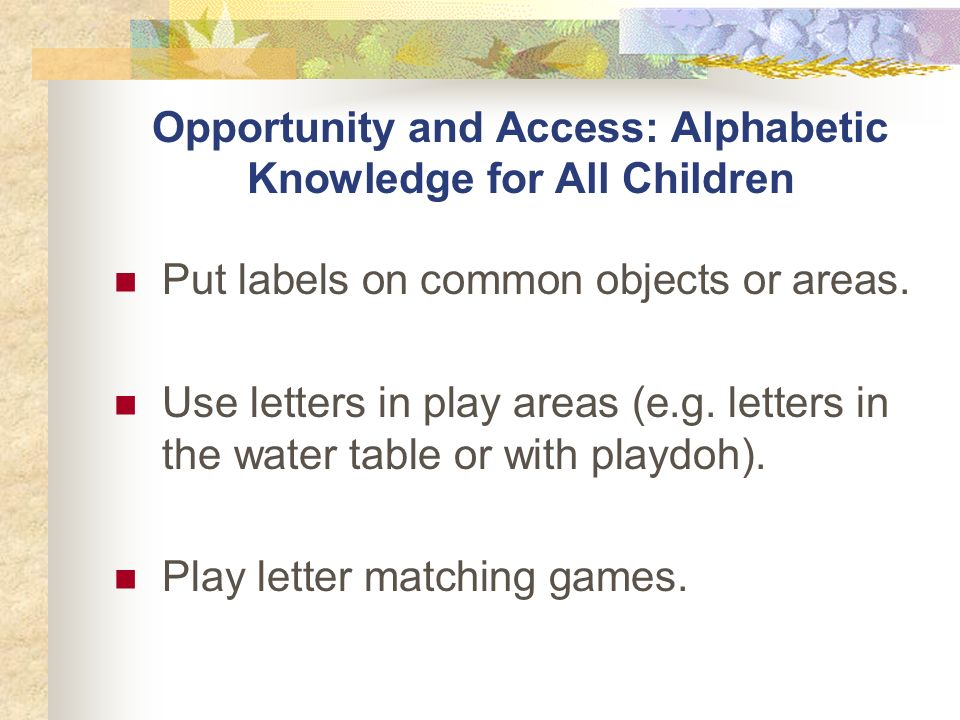 Opportunity and Access: Alphabetic Knowledge for All Children Put labels on common objects or areas.