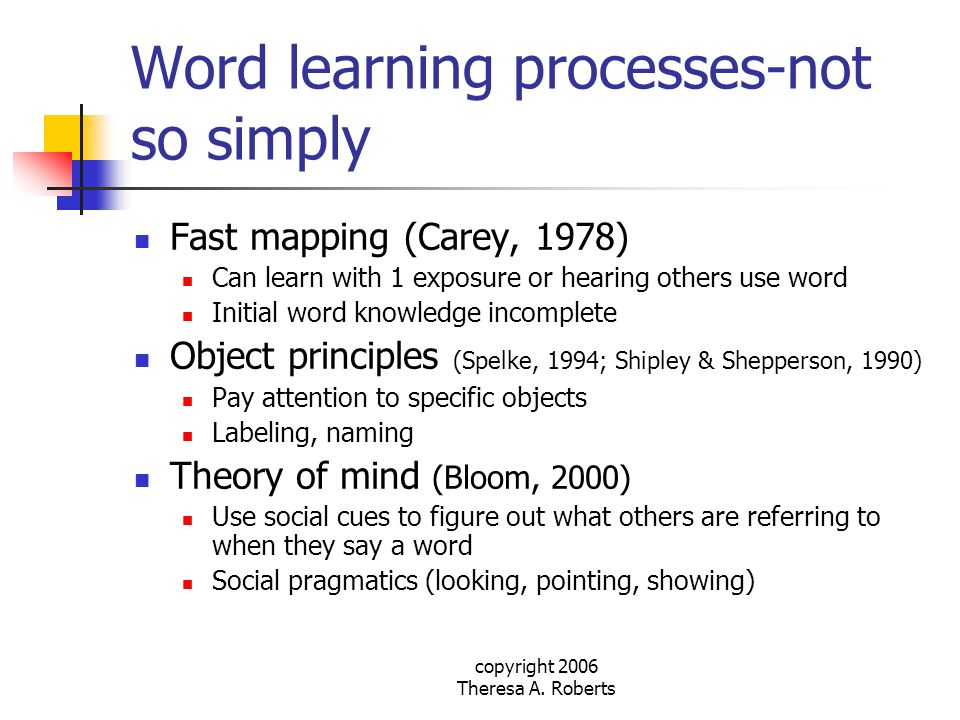copyright 2006 Theresa A. Roberts Word learning processes-not so simply Fast mapping (Carey, 1978) Can learn with 1 exposure or hearing others use wor