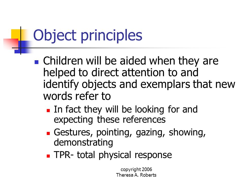 copyright 2006 Theresa A. Roberts Object principles Children will be aided when they are helped to direct attention to and identify objects and exempl