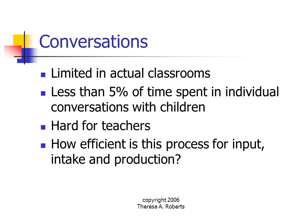 copyright 2006 Theresa A. Roberts Conversations Limited in actual classrooms Less than 5% of time spent in individual conversations with children Hard