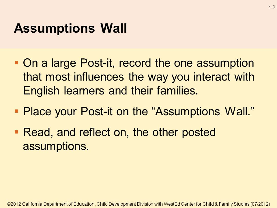 1-2 Assumptions Wall On a large Post-it, record the one assumption that most influences the way you interact with English learners and their families.