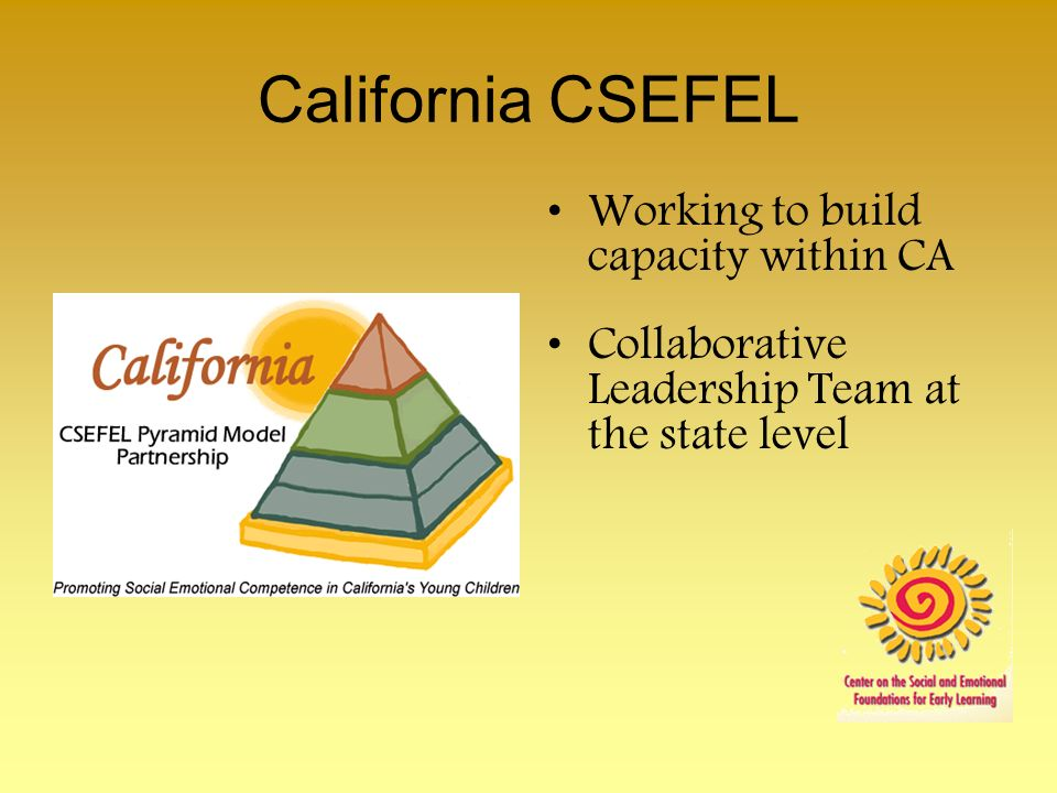 California CSEFEL Working to build capacity within CA Collaborative Leadership Team at the state level
