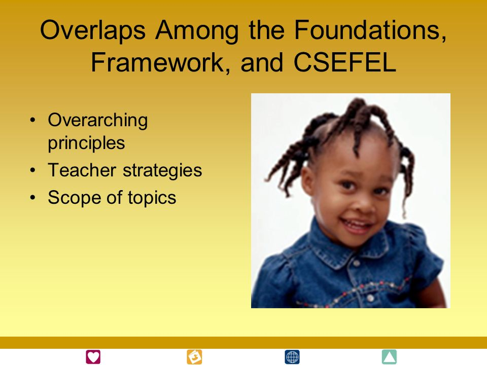 Overlaps Among the Foundations, Framework, and CSEFEL Overarching principles Teacher strategies Scope of topics