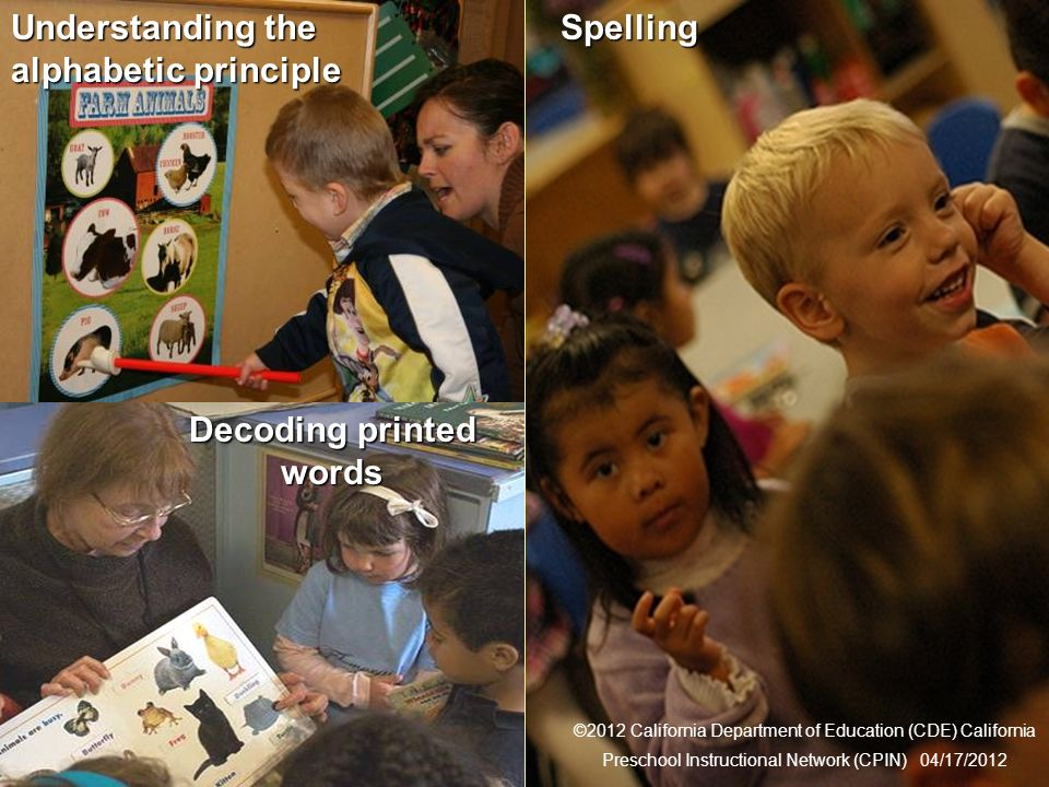 14 Connections to Reading Decoding printed words Spelling ©2012 California Department of Education (CDE) California Preschool Instructional Network (CPIN) 04/17/2012 Understanding the alphabetic principle