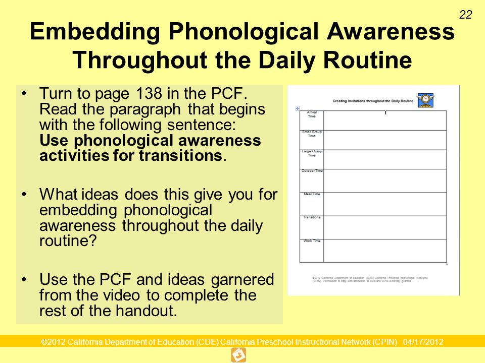 22 Embedding Phonological Awareness Throughout the Daily Routine Turn to page 138 in the PCF.