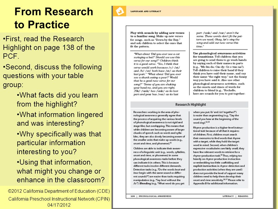 25 From Research to Practice First, read the Research Highlight on page 138 of the PCF.