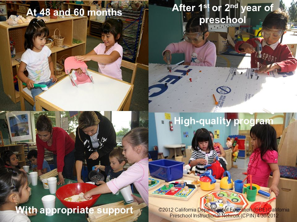 6 Foundations With appropriate support After 1 st or 2 nd year of preschool At 48 and 60 months ©2012 California Department of Education (CDE) Califor