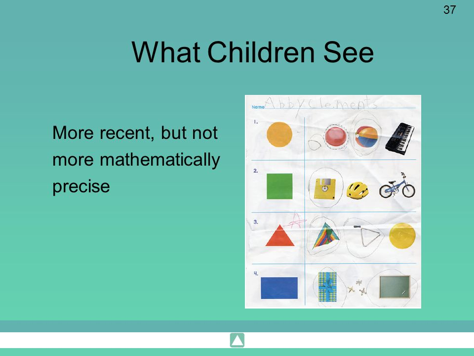 37 What Children See More recent, but not more mathematically precise