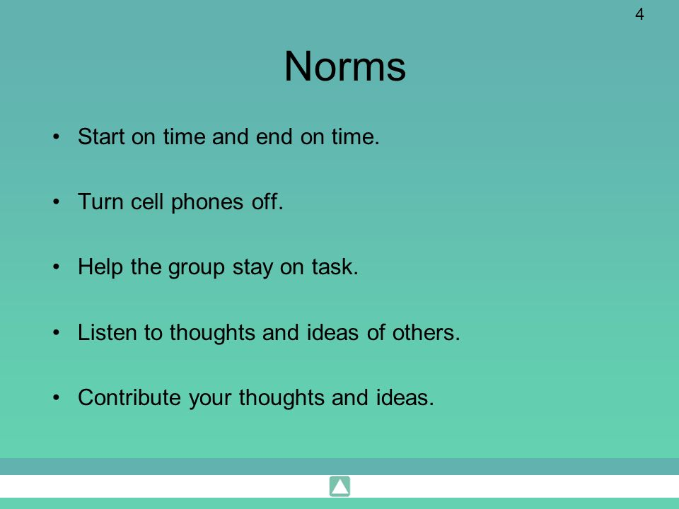 4 Norms Start on time and end on time. Turn cell phones off. Help the group stay on task. Listen to thoughts and ideas of others. Contribute your thou