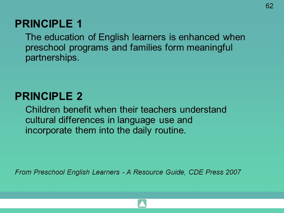 62 PRINCIPLE 1 The education of English learners is enhanced when preschool programs and families form meaningful partnerships. PRINCIPLE 2 Children b
