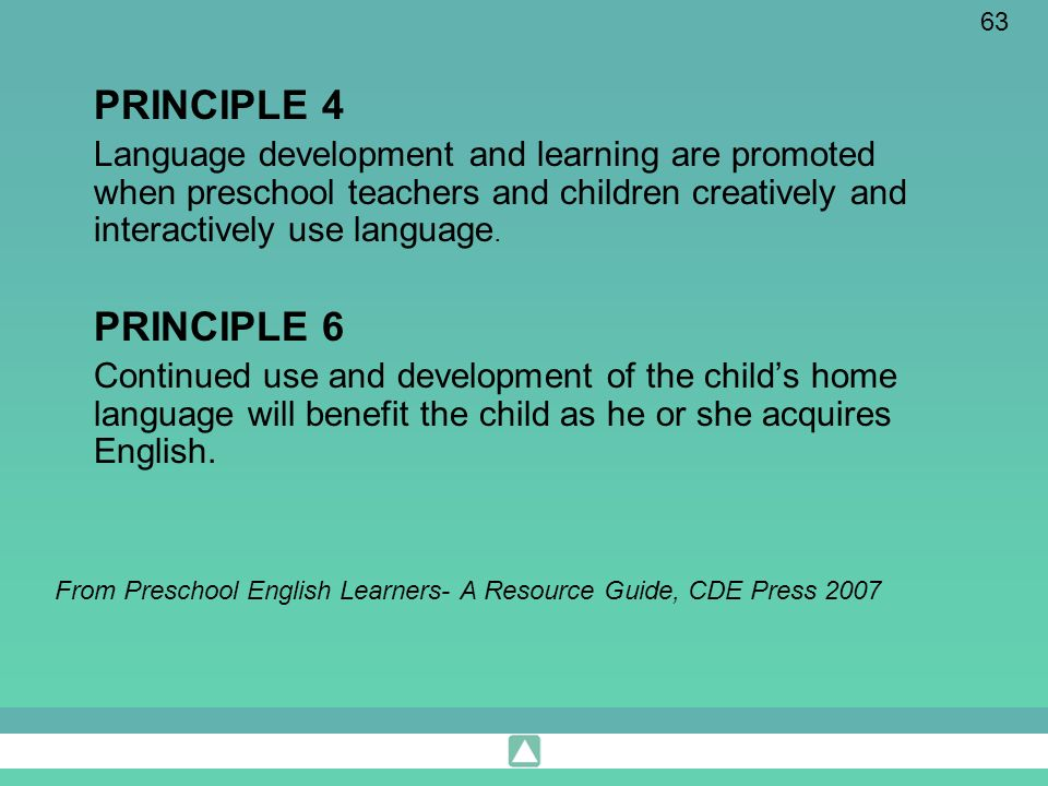 63 PRINCIPLE 4 Language development and learning are promoted when preschool teachers and children creatively and interactively use language. PRINCIPL