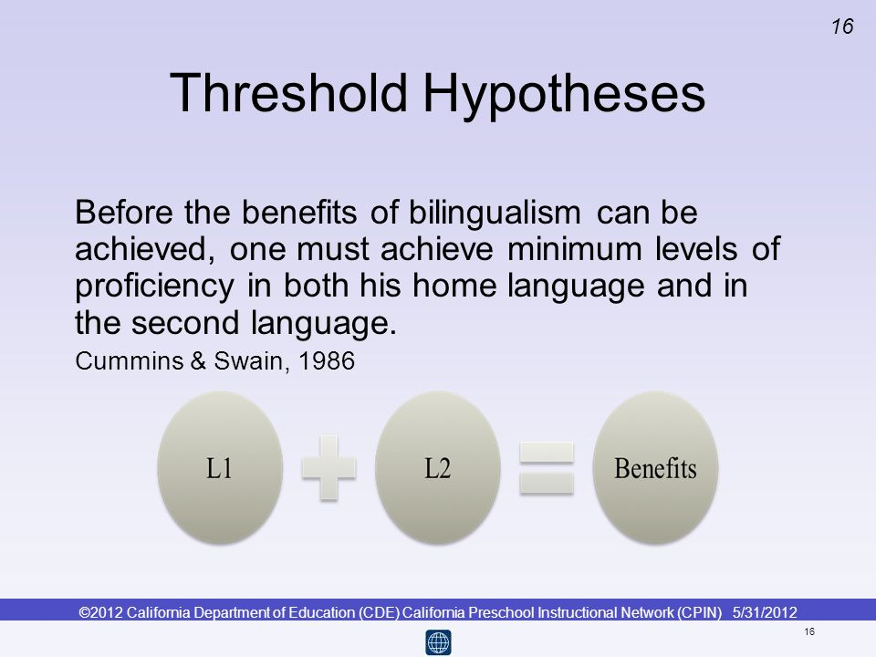 ©2012 California Department of Education (CDE) California Preschool Instructional Network (CPIN) 5/31/2012 16 Threshold Hypotheses Before the benefits
