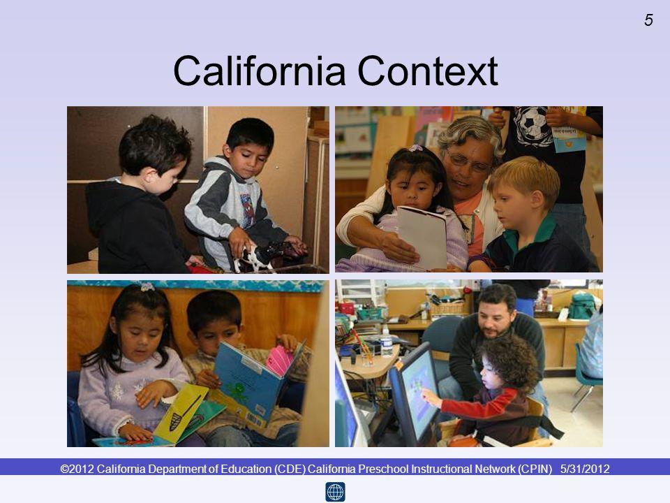 ©2012 California Department of Education (CDE) California Preschool Instructional Network (CPIN) 5/31/2012 5 California Context