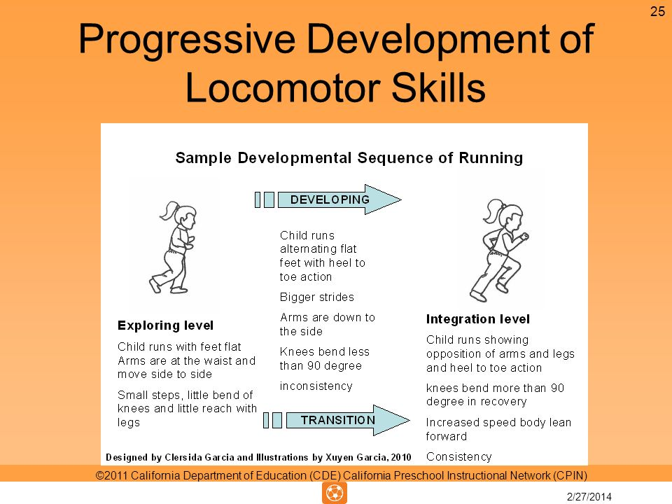 Progressive Development of Locomotor Skills 25 ©2011 California Department of Education (CDE) California Preschool Instructional Network (CPIN) 2/27/2014