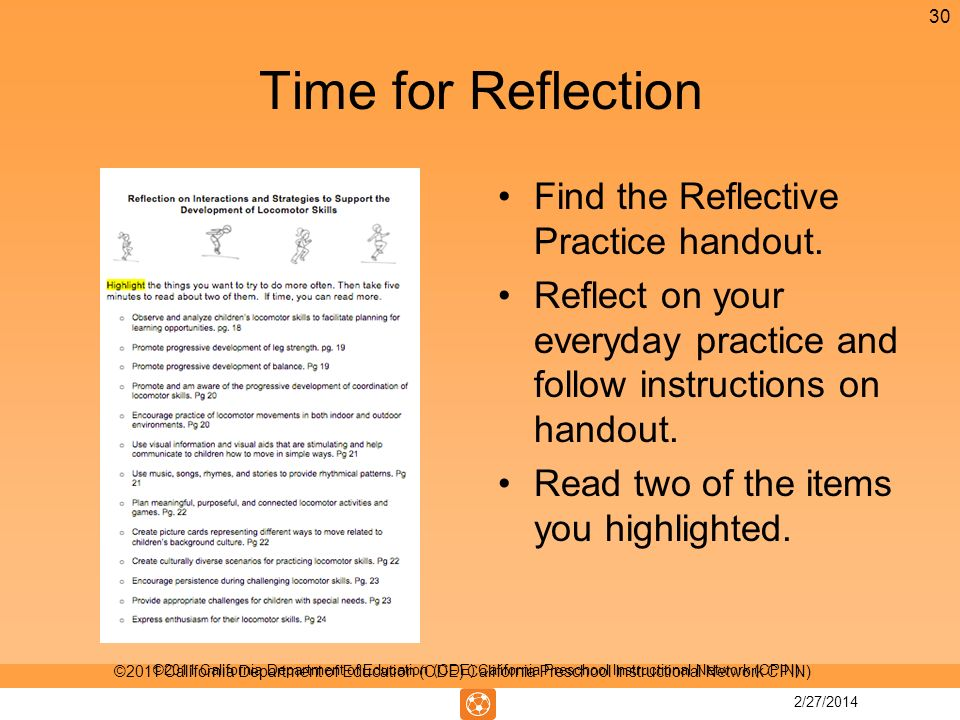 Time for Reflection Find the Reflective Practice handout.