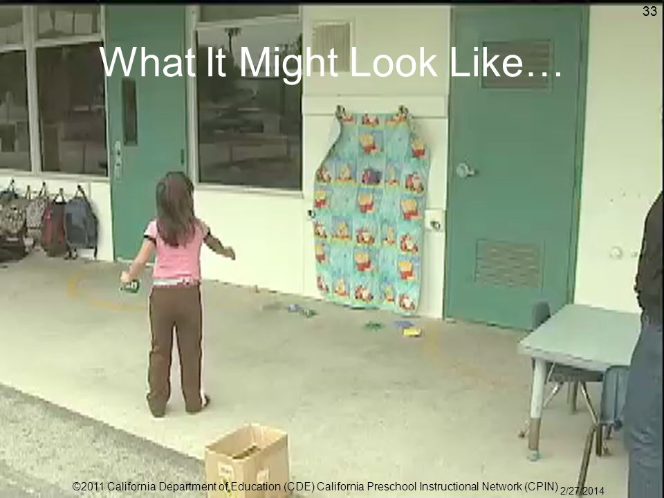 What It Might Look Like… 33 ©2011 California Department of Education (CDE) California Preschool Instructional Network (CPIN) 2/27/2014