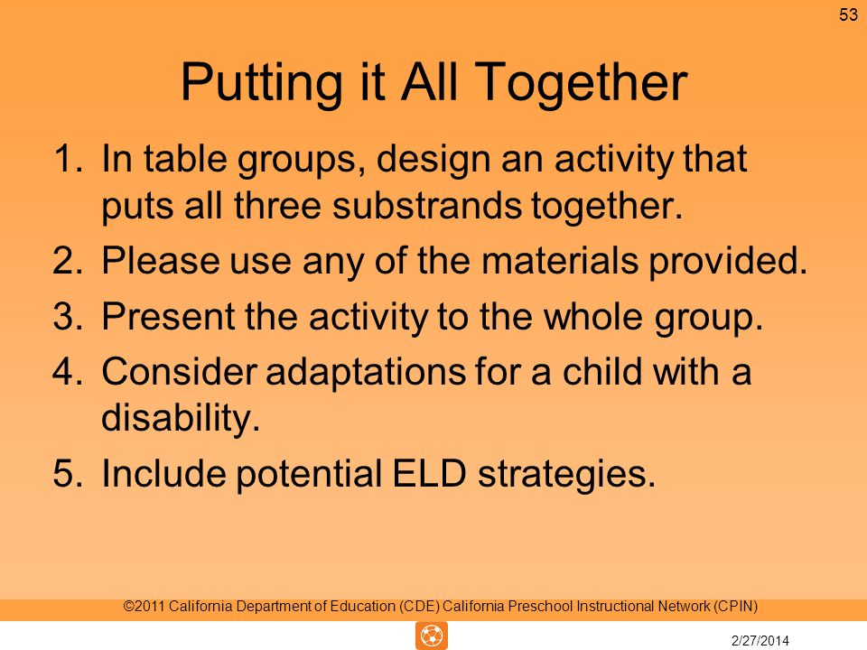Putting it All Together 1.In table groups, design an activity that puts all three substrands together.