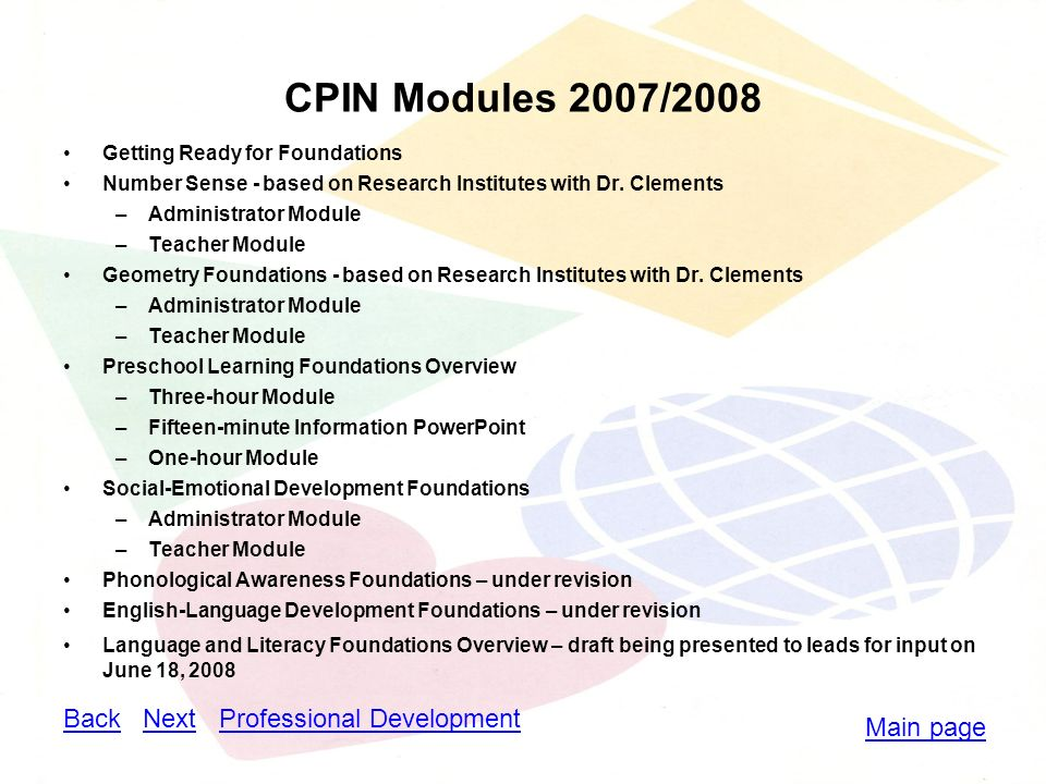 CPIN Modules 2007/2008 Getting Ready for Foundations Number Sense - based on Research Institutes with Dr.