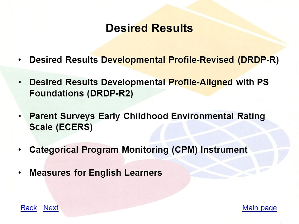 Desired Results Desired Results Developmental Profile-Revised (DRDP-R) Desired Results Developmental Profile-Aligned with PS Foundations (DRDP-R2) Parent Surveys Early Childhood Environmental Rating Scale (ECERS) Categorical Program Monitoring (CPM) Instrument Measures for English Learners Main pageBackBack NextNext