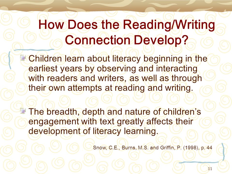 11 How Does the Reading/Writing Connection Develop? Children learn about literacy beginning in the earliest years by observing and interacting with re