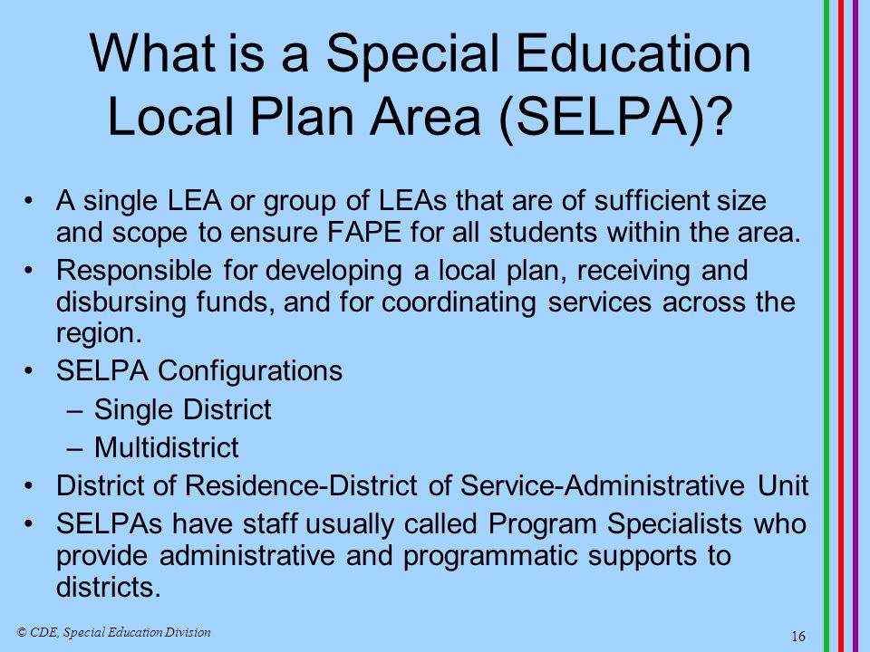 What is a Special Education Local Plan Area (SELPA).