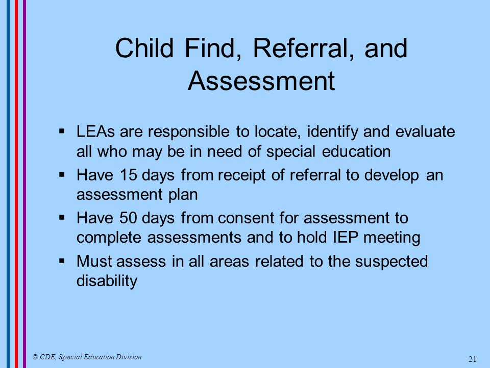 Child Find, Referral, and Assessment LEAs are responsible to locate, identify and evaluate all who may be in need of special education Have 15 days fr
