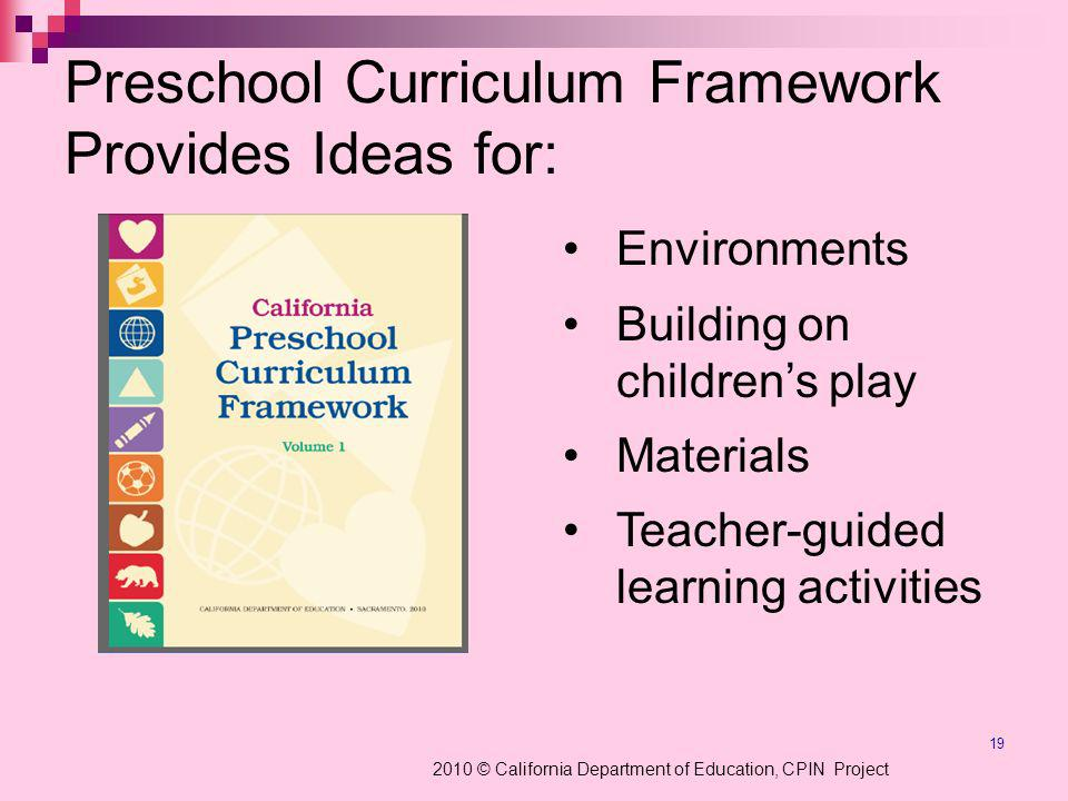 19 Preschool Curriculum Framework Provides Ideas for: Environments Building on childrens play Materials Teacher-guided learning activities 2010 © California Department of Education, CPIN Project