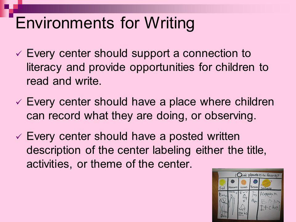 Environments for Writing Every center should support a connection to literacy and provide opportunities for children to read and write. Every center s