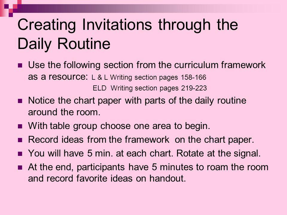 Creating Invitations through the Daily Routine Use the following section from the curriculum framework as a resource: L & L Writing section pages 158-166 ELD Writing section pages 219-223 Notice the chart paper with parts of the daily routine around the room.
