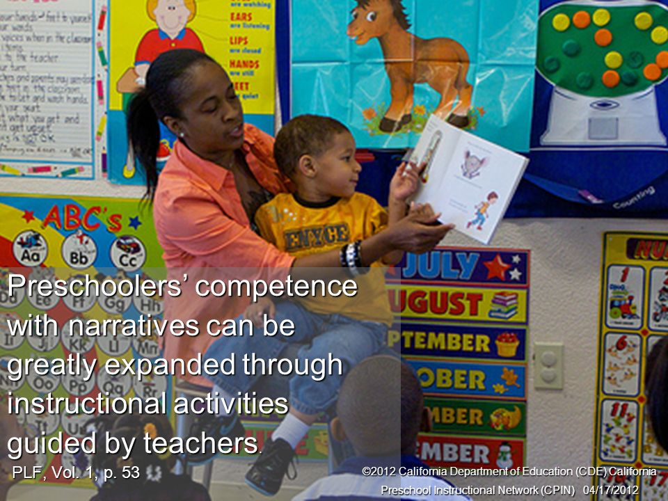14 Interaction and Strategy Preschoolers competence with narratives can be greatly expanded through instructional activities guided by teachers. PLF,