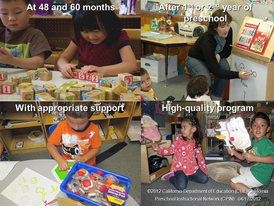 9 Foundations After 1 st or 2 nd year of preschool With appropriate support ©2012 California Department of Education (CDE) California Preschool Instru