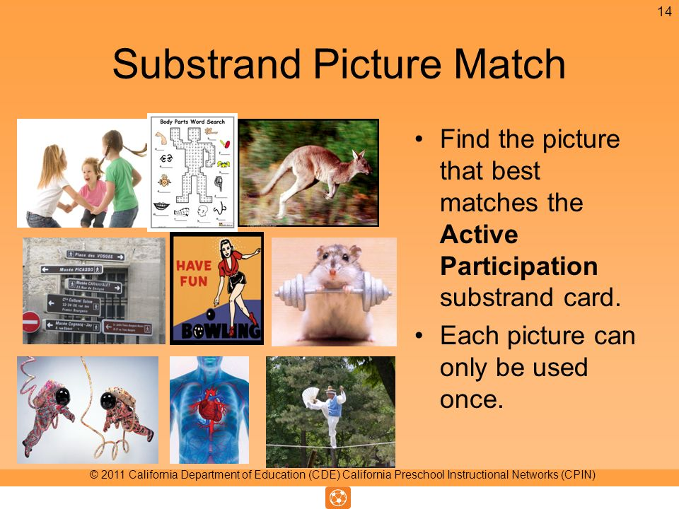 Substrand Picture Match Find the picture that best matches the Active Participation substrand card. Each picture can only be used once. 14 © 2011 Cali