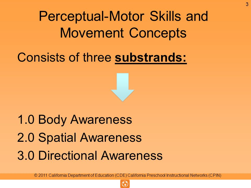 Perceptual-Motor Skills and Movement Concepts Consists of three substrands: 1.0 Body Awareness 2.0 Spatial Awareness 3.0 Directional Awareness 3 © 2011 California Department of Education (CDE) California Preschool Instructional Networks (CPIN)