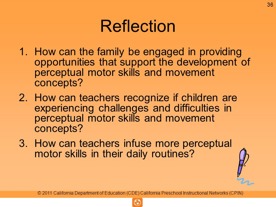 Reflection 1.How can the family be engaged in providing opportunities that support the development of perceptual motor skills and movement concepts.
