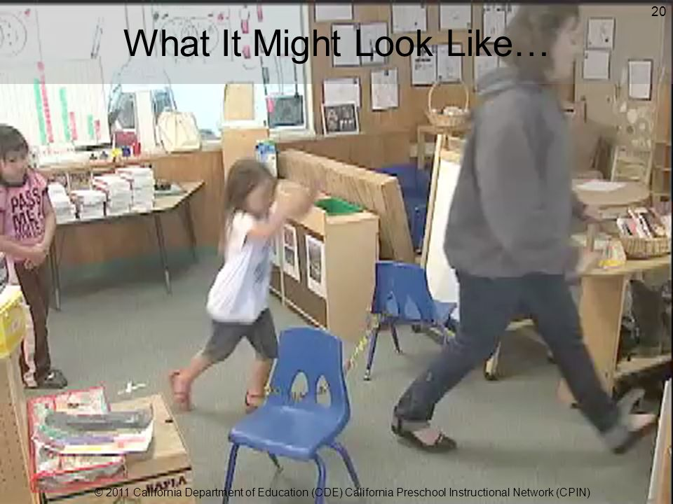 What It Might Look Like… 20 © 2011 California Department of Education (CDE) California Preschool Instructional Network (CPIN)