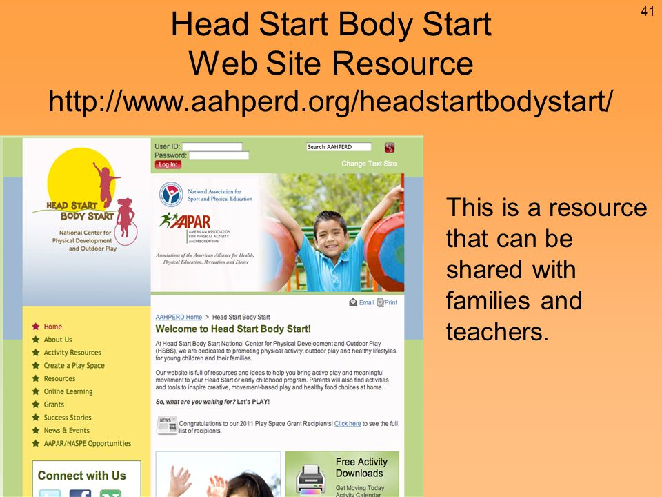 Head Start Body Start Web Site Resource   This is a resource that can be shared with families and teachers.