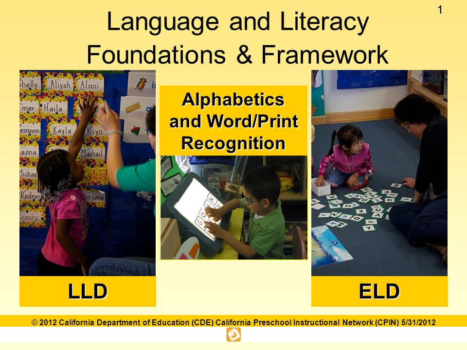 11 © 2012 California Department of Education (CDE) California Preschool Instructional Network (CPIN) 5/31/2012 Language and Literacy Foundations & FrameworkLLDELD Alphabetics and Word/Print Recognition