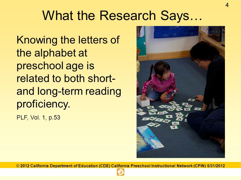 15 © 2012 California Department of Education (CDE) California Preschool Instructional Network (CPIN) 5/31/2012 In the Classroom…….