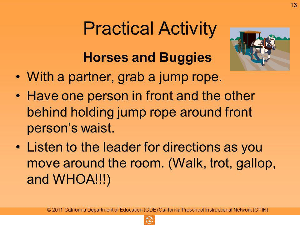 Practical Activity Horses and Buggies With a partner, grab a jump rope.