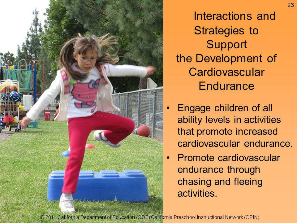 Engage children of all ability levels in activities that promote increased cardiovascular endurance.