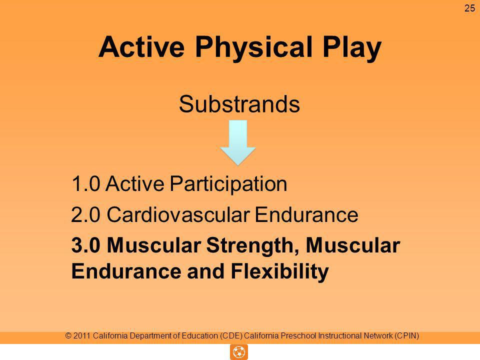 Active Physical Play Substrands 25 © 2011 California Department of Education (CDE) California Preschool Instructional Network (CPIN) 1.0 Active Participation 2.0 Cardiovascular Endurance 3.0 Muscular Strength, Muscular Endurance and Flexibility