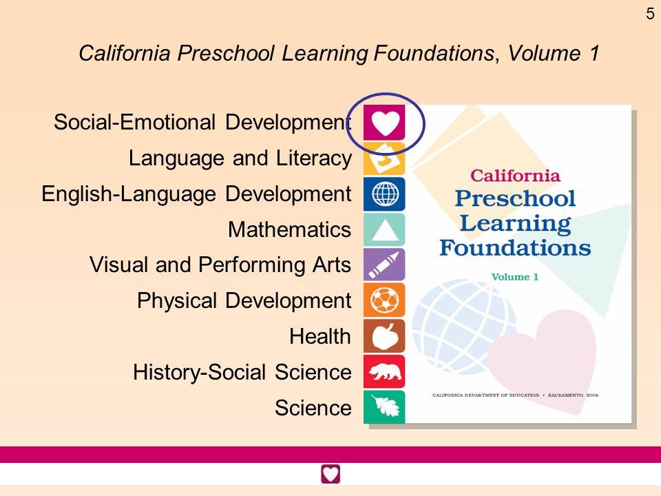 5 California Preschool Learning Foundations, Volume 1 Social-Emotional Development Language and Literacy English-Language Development Mathematics Visu