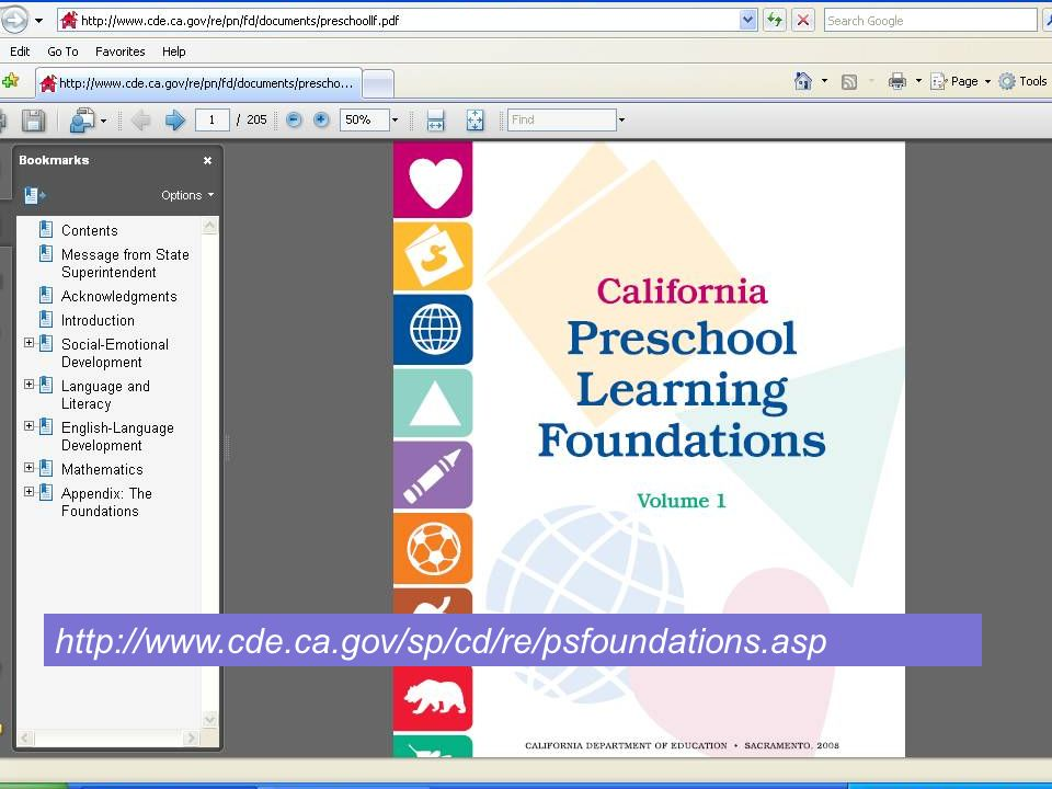 51 The entire document is online at the California Department of Education Web site. http://www.cde.ca.gov/sp/cd/re/psfoundations.asp