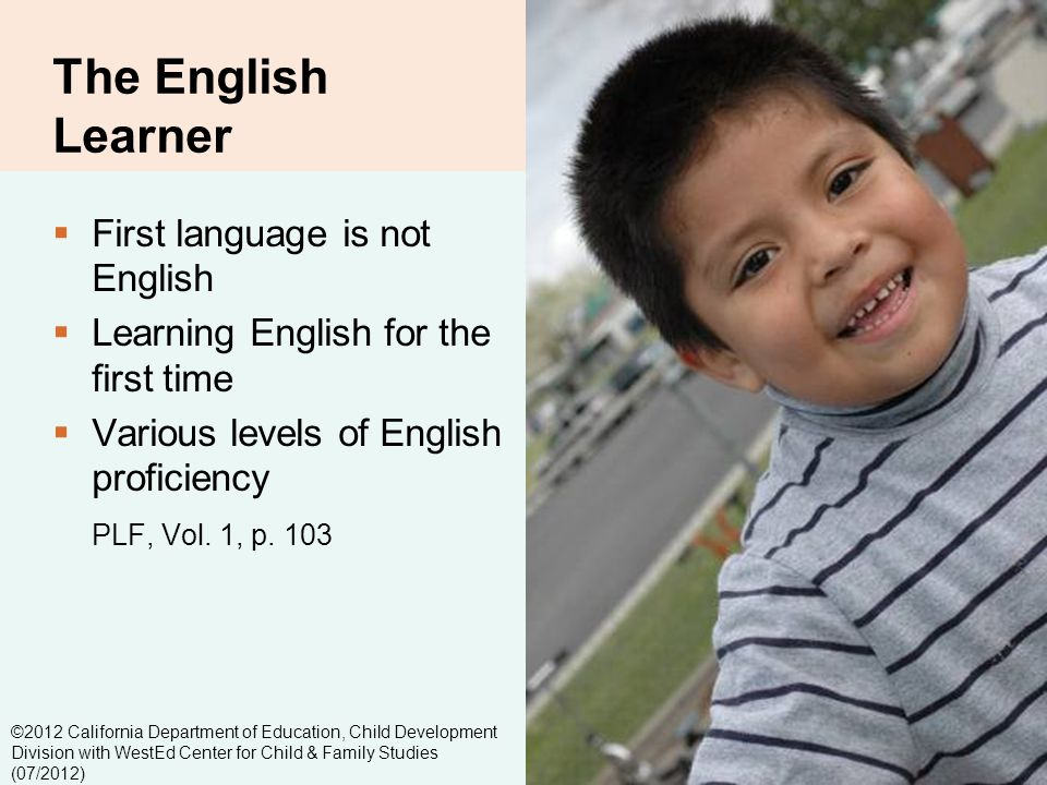 2-3 The English Learner First language is not English Learning English for the first time Various levels of English proficiency PLF, Vol.