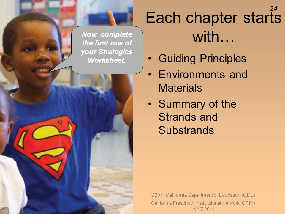 24 Each chapter starts with… Guiding Principles Environments and Materials Summary of the Strands and Substrands Now complete the first row of your Strategies Worksheet.