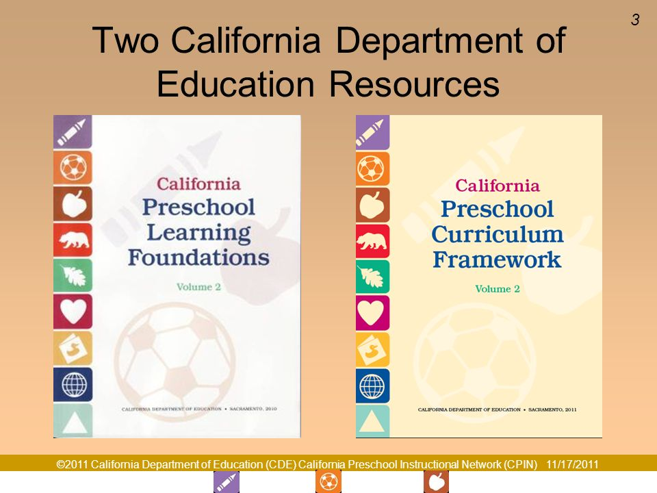 ©2011 California Department of Education (CDE) California Preschool Instructional Network (CPIN) 11/17/2011 3 Two California Department of Education Resources
