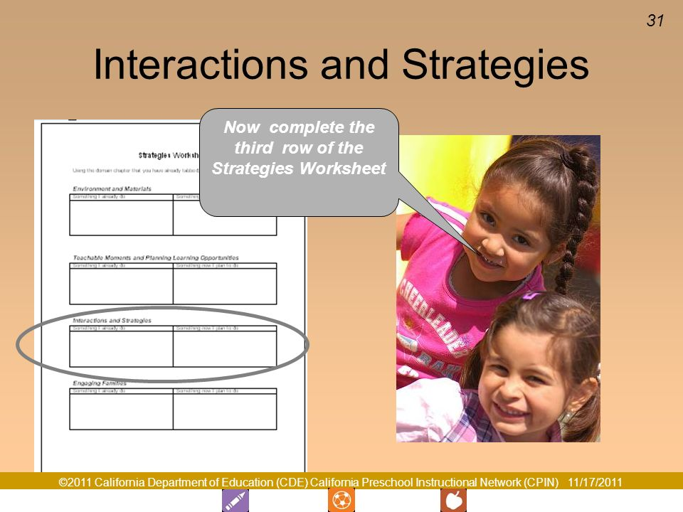 ©2011 California Department of Education (CDE) California Preschool Instructional Network (CPIN) 11/17/2011 31 Interactions and Strategies Now complete the third row of the Strategies Worksheet