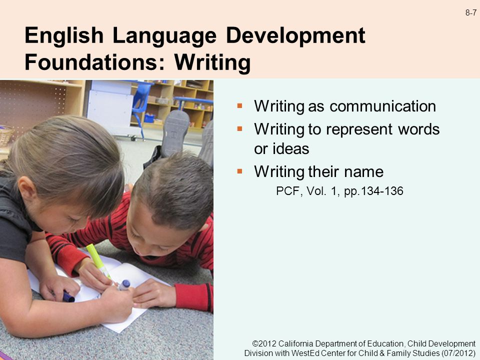 8-7 English Language Development Foundations: Writing Writing as communication Writing to represent words or ideas Writing their name PCF, Vol.